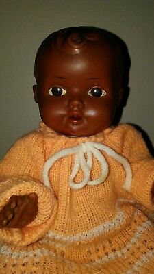 Vintage African American Black Infant Baby Doll Hard Plastic Knitted Clothing