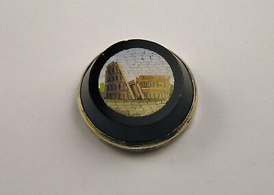 Exceptional MICRO MOSAIC BUTTON Very Fine Detail ANTIQUE WAISTCOAT ARCHITECTURE
