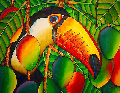 Jean-Baptiste Original Batik Silk Painting Of A Toucan Bird