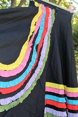 Vintage Calypso Dance Skirt Black With Multi Color Ruffles