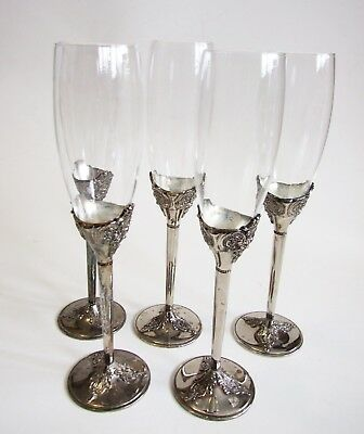 Vtg WALLACE BAROQUE Silverplate Silver Glass Champagne Flutes 5 Stemware Wedding