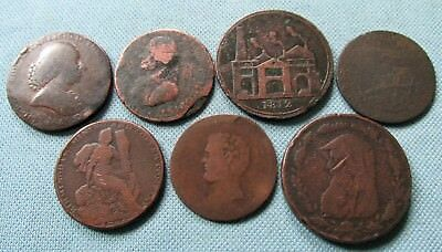 Lot 7 British 1700s Conder Tokens & 1800s Penny Halfpenny Tokens Old Coppers #2