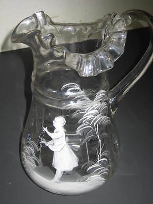 Antique Mary Gregory style,  Bohemian,  Original Glass Pitcher, hand blown