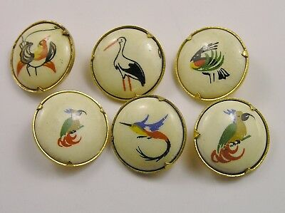Lovely ANTIQUE or VINTAGE Buttons Rare/UNUSUAL BIRDS Painted Enamel? SIX DESIGNS
