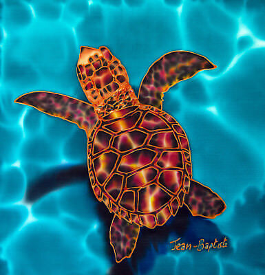 Jean-Baptiste Original Batik Silk Painting Of A Hatchling Sea Turtle