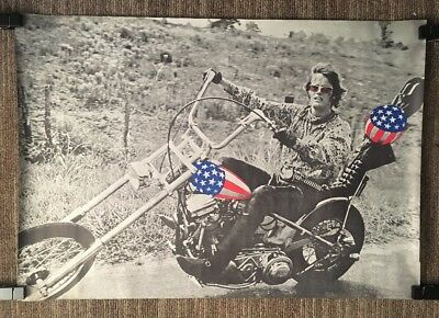 Vintage Blacklight Poster Easy Rider American Chopper US Flag Motorcycle 1970's