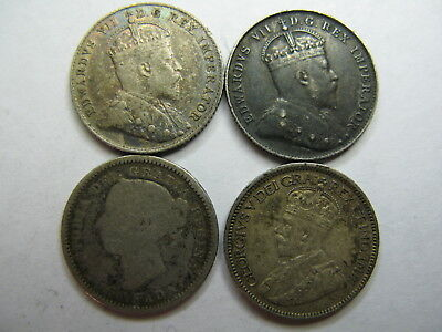 Canada, Circulated Silver Toned Dime Coins, Dated 1886, 1902-H Dark, 1910 & 1917