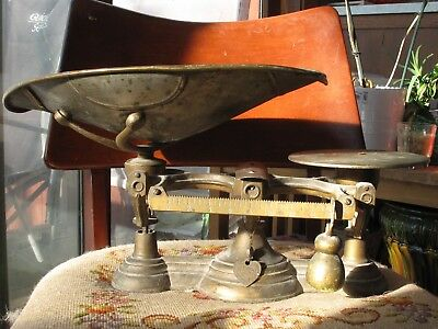 Antique cast Iron & Brass Buffalo Mercantile Scale general store sealed Indiana