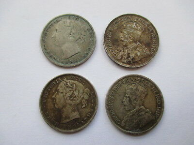 Lot Of 4 Different Twenty And Twenty-Five Cents Silver Newfoundland Coins