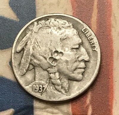 1937-D 5C Buffalo Nickel Vintage US Copper Coin #DR50