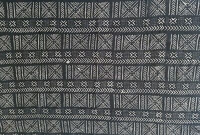 "Authentic African Handwoven Bambara Mud Cloth Fabric From Mali Size 62.5"" x 39"""