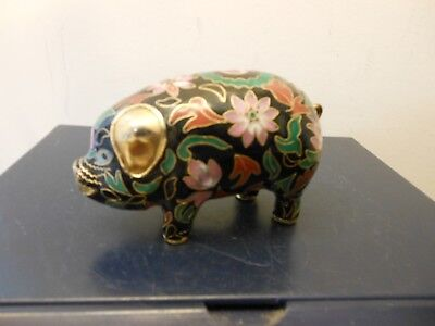 Gorgeous Vintage Cloisonne Pig....3 1/2 Inches And Darling  Lotus Flowers