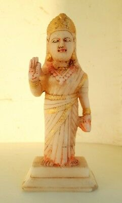 Vintage Old Marble Stone Hand Crafted Hindu Money Goddess Laxmi Statue Sculpture