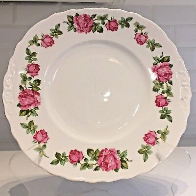 Vintage Bone China Cake Plate Bright Pink Roses Eared Bread & Butter Royal Vale