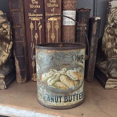 Old Vintage Happy Home Peanut Butter little  tin As Is Dented and worn
