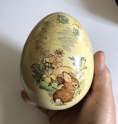 Vintage Litho Decal Easter Spring Ceramic  Egg Brown Bunny, Blue Bird, Yellow