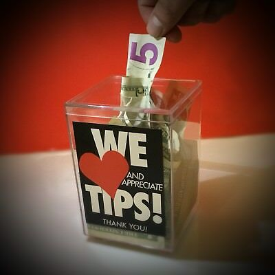 "Tip Jar, Tip box, Clear Plastic, "" WE LOVE TIPS"" Imprinted, RESTAURANT SERVERS"