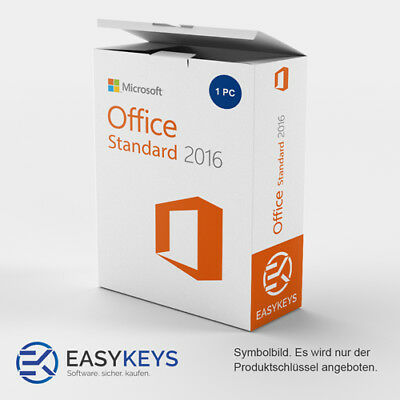 MS Microsoft Office 2016 Standard 1 PC Original Sofort per E-Mail  1 A