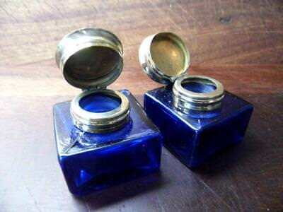 Beautiful Pair Large Antique Style Blue Glass Inkwell Bottles Brass Flip Lids