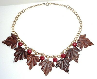 Art Deco Brass & Bakelite Black Forest Walnut Finely Carved Wood Leaves Necklace