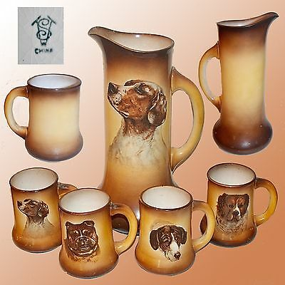 Antique Canine Pitcher & 4 Mugs By Taylor Smith Taylor Each With A Different Dog