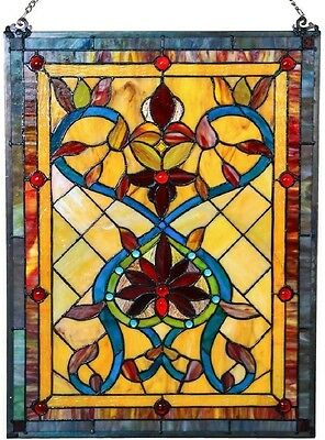 Tiffany Style Stained Glass Window Panel Suncatcher Classic Victorian Theme 24""