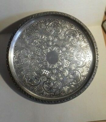 Vintage chased silver plate drinks tray