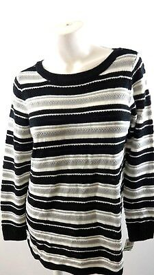 CHARTER CLUB WOMEN'S Sweater Blue Boat Neck Striped Pullover
