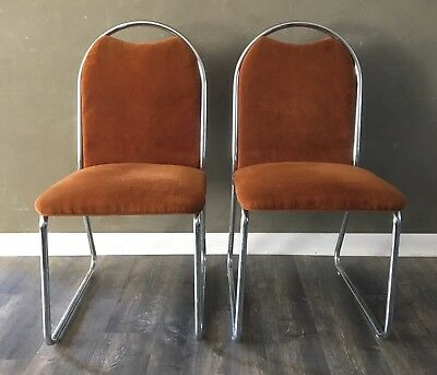 Vintage Mid Century Modern  Daystrom Chrome Chairs Dinette Kitchen Side Accent