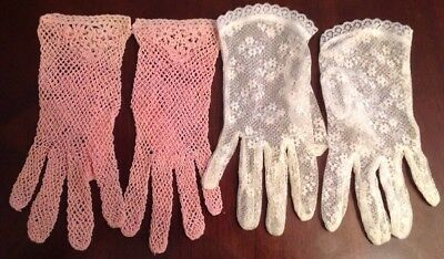 Two Pairs Of Vintage LadIes Lace Gloves, One Pink Stretch, One White, Easter