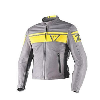 (TG. 54) Dainese Blackjack Leather Jacket - Giacca, Multicolore (Grey/Yellow/Bla