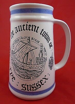 Cinque Ports Pottery Tankard Ancient Town Of Rye Sussex 16cm Tall