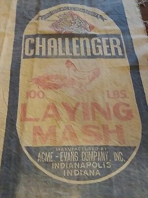 VINTAGE Poultry feed sack chicken rooster advertising blue red~Primitive~Large