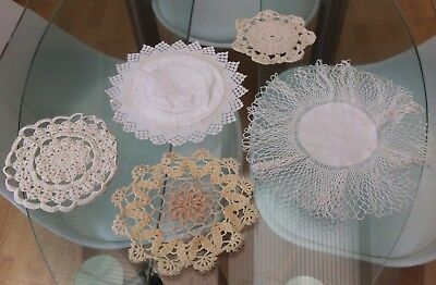 Job Lot Of 5 White & Cream Vintage Hand Crocheted Lace Doilies / Table Mats