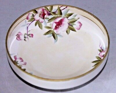 "ANTIQUE NIPPON Morimura Porcelain Footed Bowl, Cherry Blossoms, 6 1/4"" Diameter"