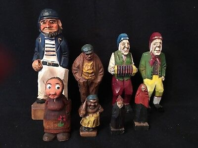 VINTAGE HAND CARVED WOODEN FIGURES OLD PEOPLE VILLAGE FOLK ART Painted Dog