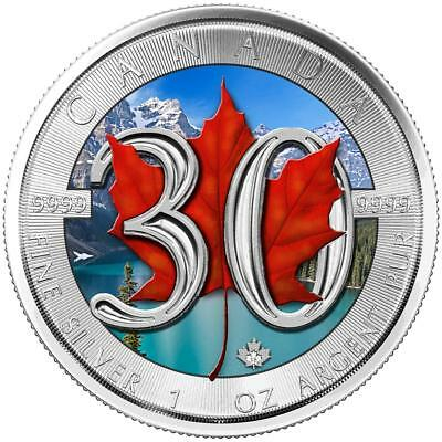 Maple Leaf – 30Th Anniversary – 2018 1 Oz Silver Color Coin