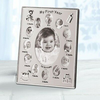 MY FIRST YEAR Baby Photo Frame Silver Tone Monthly Picture Collage Keepsake