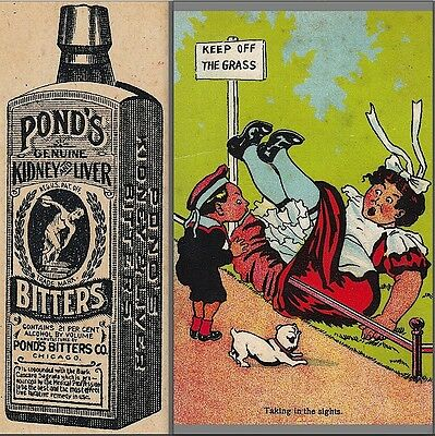 Ponds Bitters Ginger Brandy Headache Cure Bottle Risque Maid Advertising Card