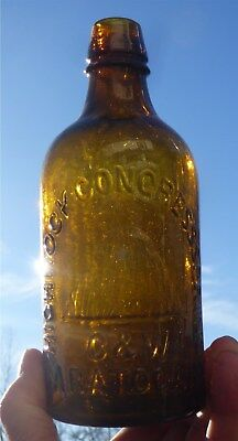 Amber Mint C&W Highrock Congress Spring Saratoga NY Pint Mineral Water Bottle