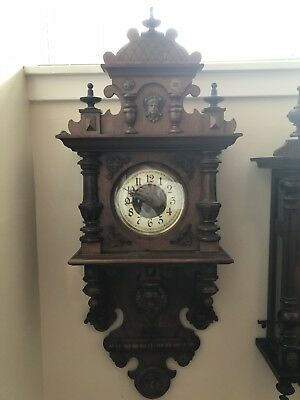 Very Nice Antique German Unsigned Fancy Wall Clock
