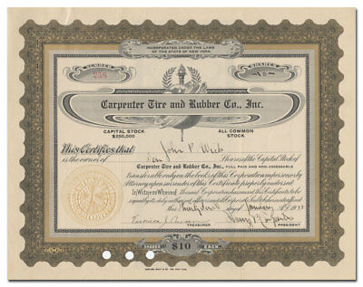 Carpenter Tire and Rubber Co., Inc. Stock Certificate (New York City)
