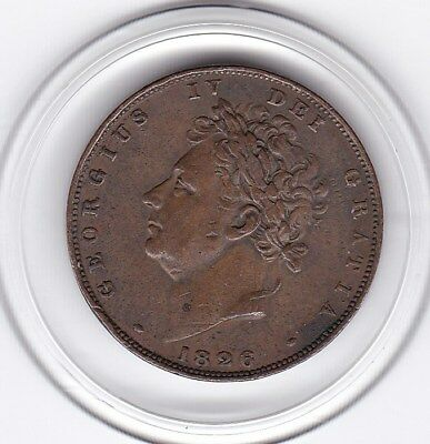 1826   King  George  IIII  Farthing   (1/4d)  Copper  Coin