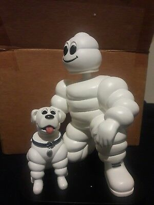"Michelin Man with Dog Bobble Head Tire Promotional Display 7"" Resin Figurine"
