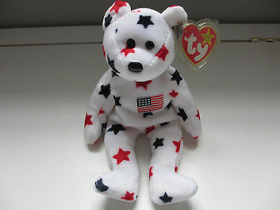 BEANIE BABY - Glory the Bear - Red White & Blue - Retired - 5th Gen