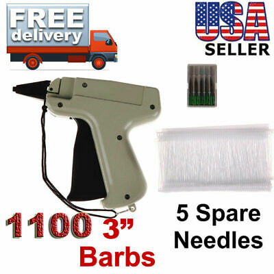 "Clothes Garment Price Label Tagging Tag Gun machine 3""1000 Barbs + 5 Needles"
