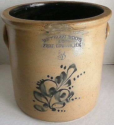 Ottman Bro's & Co. Fort Edward,n.y. #3 Cobalt  Stoneware Crock