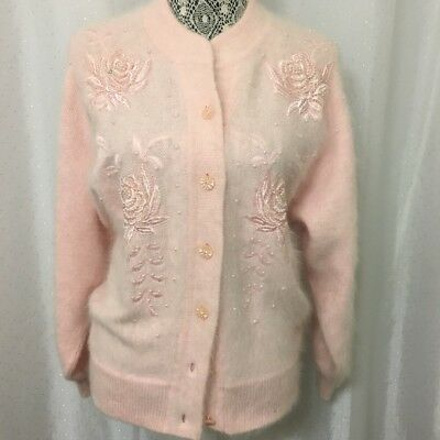 Vntg Cardigan Jacket Sweater Petite Med Pink Button Pearls Embroidery Ed Dassin
