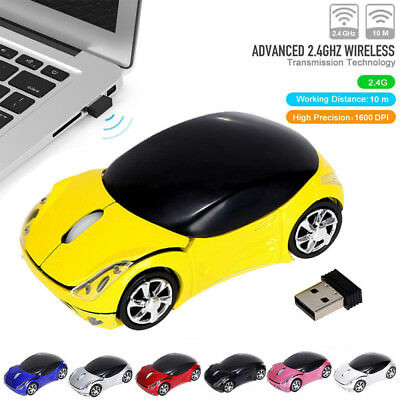2.4GHz Wireless Mouse Optical Car Shape Gaming Mice with USB Receiver for PC
