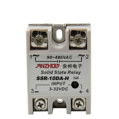 Temprature Control Solid State Relay SSR 10A 3-32V DC 24-380V AC + heat sink